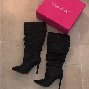 ShoeDazzle hadlee heeled WC boots size 8 - black